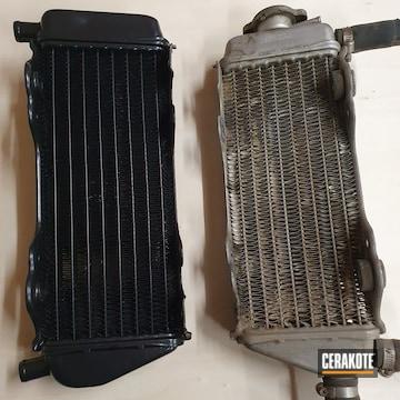Yamaha Motorcycle Radiator Cerakoted Using Blackout