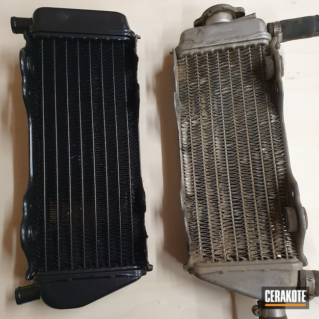 Cerakoted: Radiator,BLACKOUT E-100,Motocross,Motorcycle Parts,Yamaha,Automotive