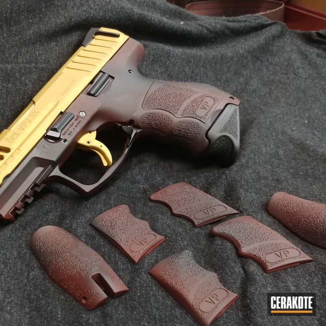 Cerakoted: S.H.O.T,9mm,VP9,FIREHOUSE RED H-216,Battleworn,Graphite Black H-146,Pistol,Heckler & Koch,Gold H-122