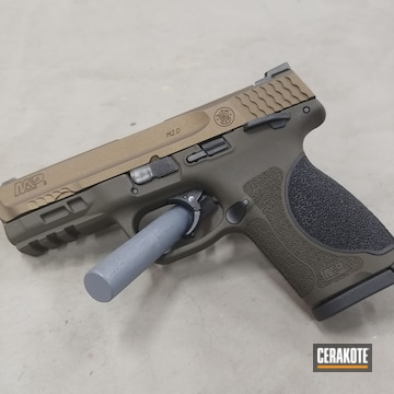 Smith & Wesson M&p Cerakoted Using O.d. Green And Burnt Bronze