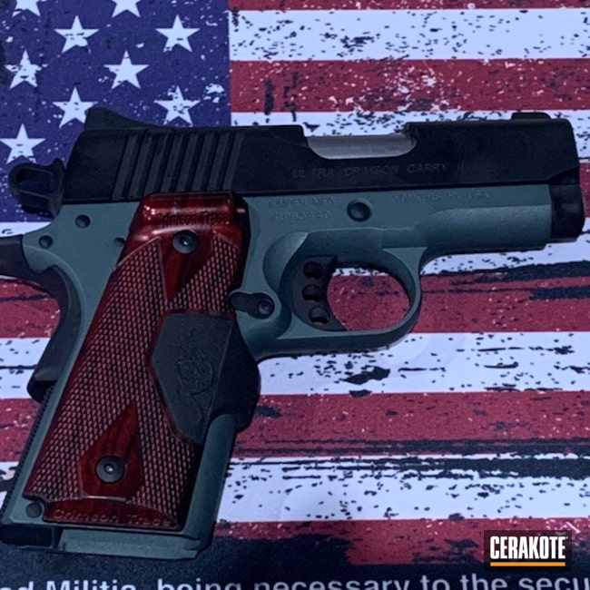 Kimber Micro Pistol Cerakoted Using Charcoal Green And Graphite Black