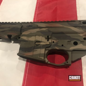 Tiger Stripe Camo Ar Builders Set And Scope Cerakoted Using Magpul® O.d. Green, Graphite Black And Magpul® Flat Dark Earth