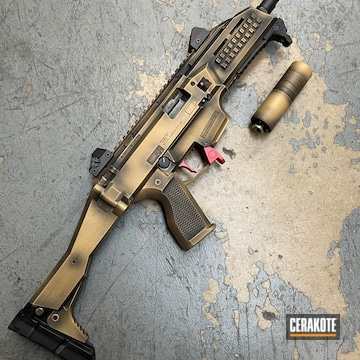 Battleworn Cz Scorpion Evo Cerakoted Using Graphite Black, Ruby Red And Gold