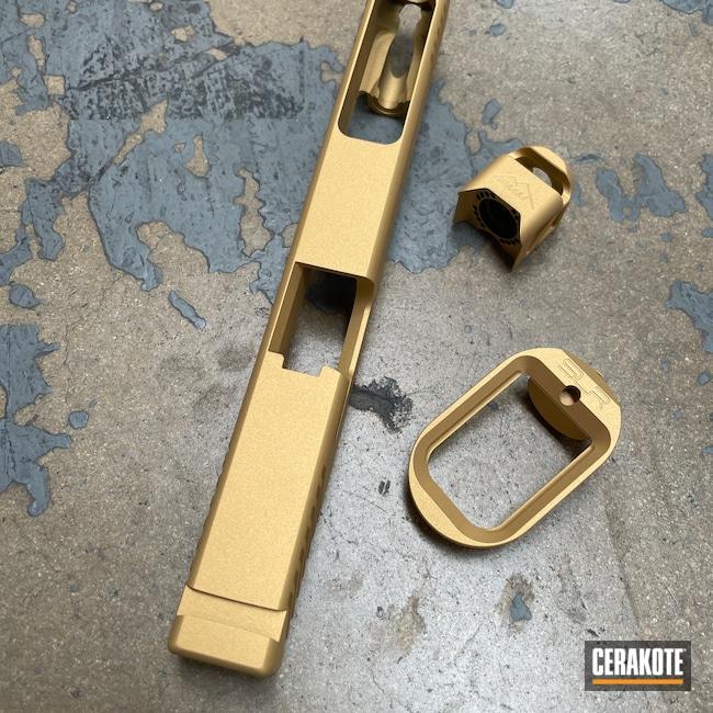 Cerakoted: S.H.O.T,SLR,Glock Slide,Compensator,Pistol,Glock,Machined Slide,Magwell,Custom Glock Slide,Slide,Handguns,Gold H-122