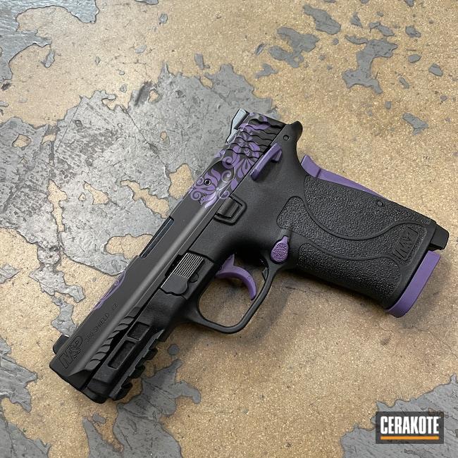 Cerakoted: S.H.O.T,Sugar Skull,Smith & Wesson M&P Shield EZ,Graphite Black H-146,Bright Purple H-217,Smith & Wesson,Pistol,Floral Patterned,Handguns,Smith & Wesson M&P Shield