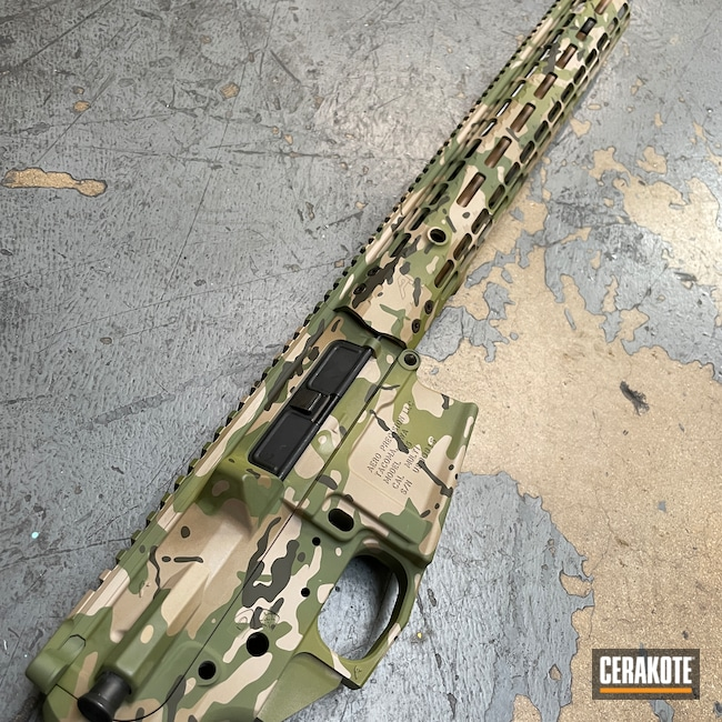 Cerakoted: S.H.O.T,MULTICAM® BRIGHT GREEN H-343,Aero Precision,20150 E-190,MultiCam,Aero Precision M5,Barrel,Upper / Lower / Handguard,MCMILLAN® TAN H-203,MAGPUL® O.D. GREEN H-232