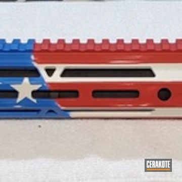 American Flag Themed Handguard Cerakoted Using Snow White, Nra Blue And Firehouse Red
