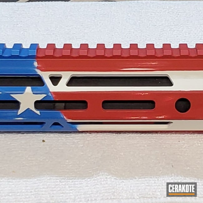 Cerakoted: S.H.O.T,NRA Blue H-171,FIREHOUSE RED H-216,Snow White H-136,Handguard,.350 Legend