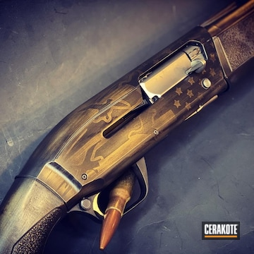 Browning Maxus Shotgun Cerakoted Using Graphite Black And Burnt Bronze