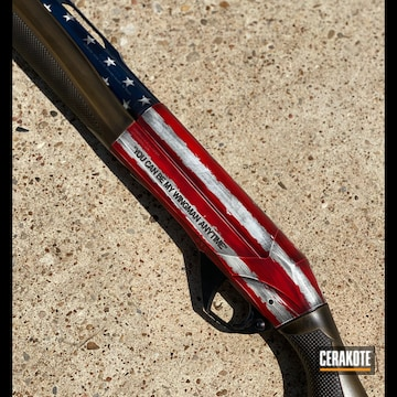United States Flag Themed Benelli Super Black Eagle Cerakoted Using Snow White, Usmc Red And Graphite Black