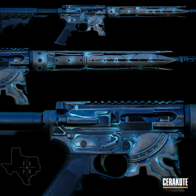 Cerakoted: S.H.O.T,Robin's Egg Blue H-175,Spartan,Graphite Black H-146,Burnt Bronze H-148,6.5 Grendel,Sharpbros,Custom Built,Patina,Custom AR,AR-15,Unique-Ars
