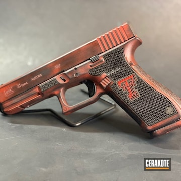 Texas Tech Themed Glock 31 Cerakoted Using Usmc Red And Graphite Black