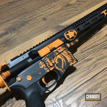 Custom Ar Cerakoted Using Armor Black And Tequila Sunrise