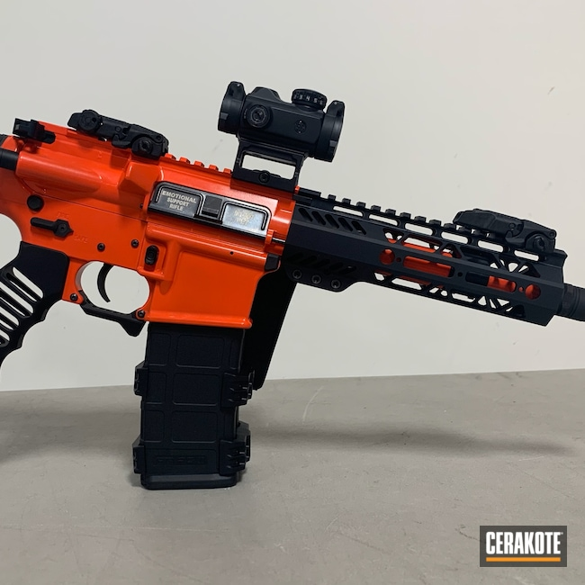 Cerakoted: S.H.O.T,AR Pistol,Hi-Vis Front Sight,HIGH GLOSS CERAMIC CLEAR MC-160,HI-VIS ORANGE H-346,Blackout,Custom AR