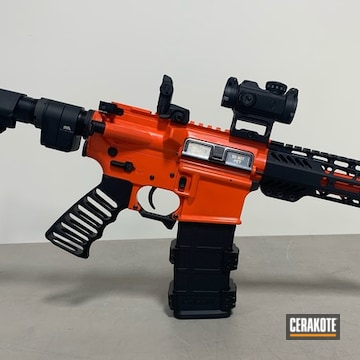 Custom Ar Cerakoted Using Hi-vis Orange And High Gloss Ceramic Clear