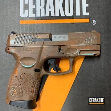 Taurus G3c Pistol Cerakoted Using Copper Suede, Graphite Black And Robin's Egg Blue