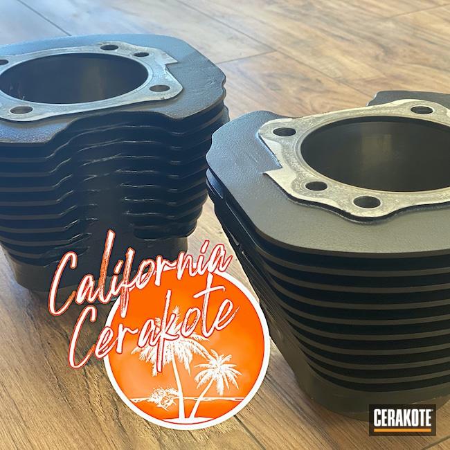 Cerakoted: Graphite Black H-146,Harley Davidson,Automotive,Cylinder Head,Christopher Miller,california cerakote