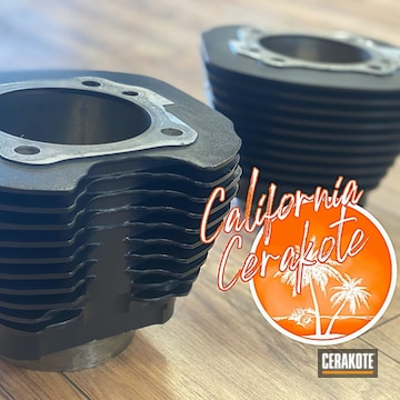 Harley Davidson Cylinder Heads Cerakoted Using Graphite Black