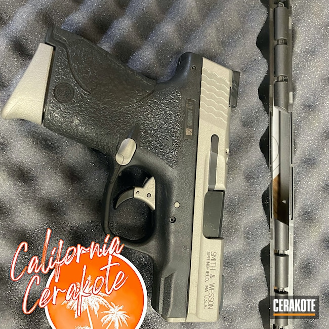 Cerakoted: S.H.O.T,Smith & Wesson,Crushed Silver H-255,Christopher Miller,M&P Shield,california cerakote