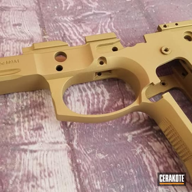 Cerakoted: S.H.O.T,Custom Mix,Handgun Frame,Burnt Bronze H-148,Beretta,Gold V-172,Handgun