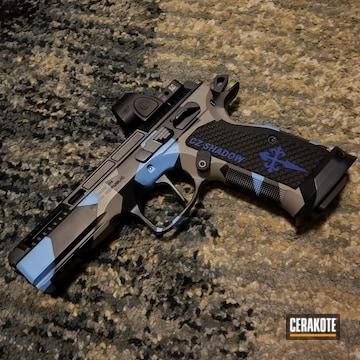 Cz Shadow Pistol Cerakoted Using Blue Raspberry, Sniper Grey And Graphite Black
