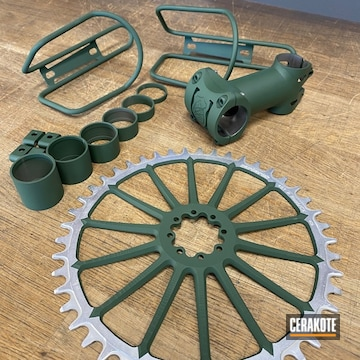 Bicycle Parts Cerakoted Using Jesse James Eastern Front Green
