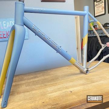 Bike Frame Cerakoted Using Ral 8000 And Northern Lights