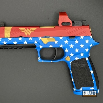 Wonder Women Themed Sig Sauer P320 Cerakoted Using Nra Blue, Graphite Black And Firehouse Red