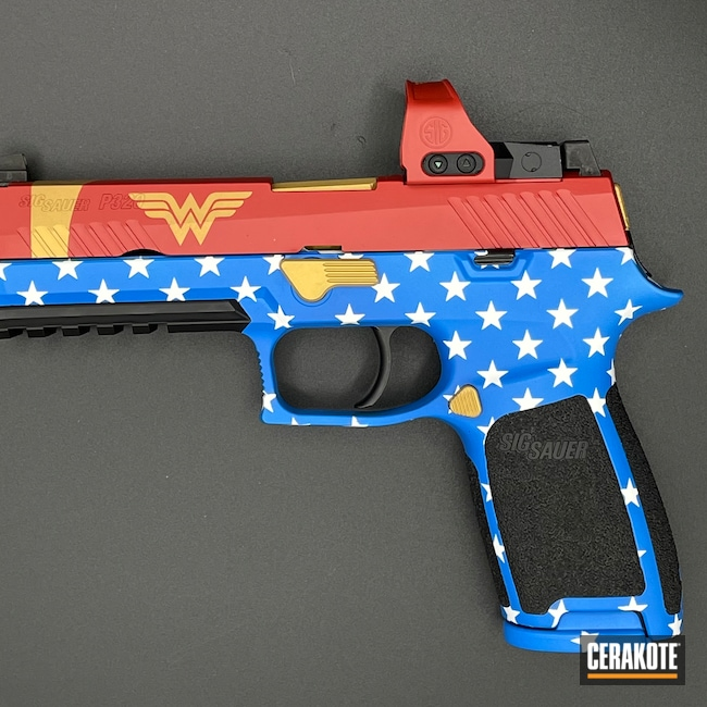 Cerakoted: S.H.O.T,Sig P320,9mm,Wonder Woman,Stars,NRA Blue H-171,FIREHOUSE RED H-216,Graphite Black H-146,P320,Superhero,Gold H-122,DC