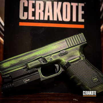 Distressed Glock 21 Cerakoted Using Zombie Green And Blackout