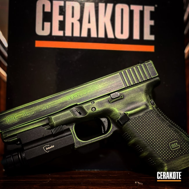 Cerakoted: S.H.O.T,.45,Glock 21,BLACKOUT E-100,Zombie Green H-168,Distressed Glock