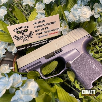 Sig Sauer P365 Cerakoted Using Crushed Silver And Crushed Orchid