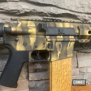 Tiger Stripe Camo Palmetto State Armory Ar Build Cerakoted Using Graphite Black, Burnt Bronze And Gold