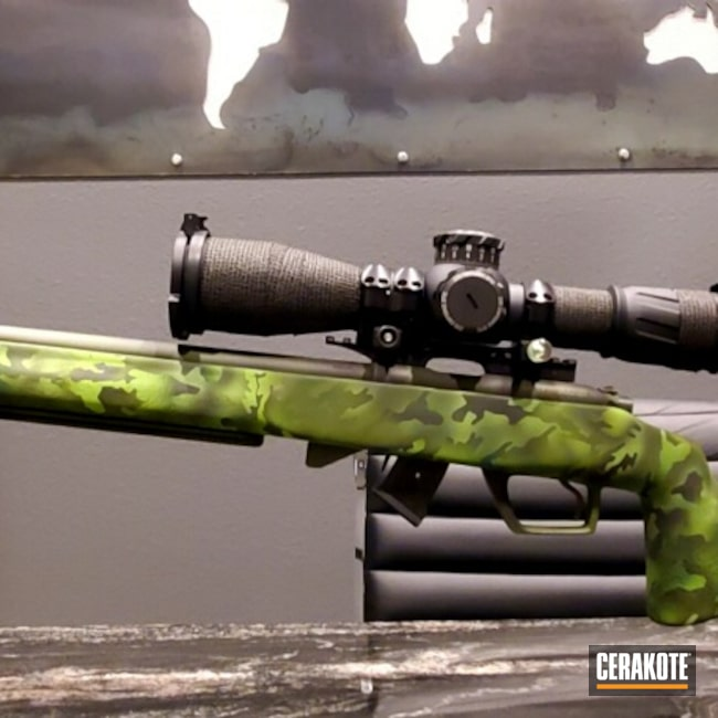 Cerakoted: S.H.O.T,MULTICAM® BRIGHT GREEN H-343,Highland Green H-200,Manners,Graphite Black H-146,CZ455,Zombie Green H-168,.22LR,CZ,Manners T4 Stock,22lr