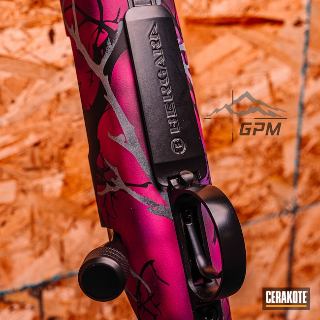 Cerakoted: Bolt Action Rifle,S.H.O.T,6.5 Creedmoor,Custom Camo Pattern,Bolt Action,pink camouflage,BLACKOUT E-100,B14,Pink,Wild Purple H-197,SIG™ PINK H-224,Armor Black H-190,6.5,Custom Camo,Custom Rifle,Photography,Stormtrooper White H-297,Camo,Bergara,Prison Pink H-141,Pink Camo