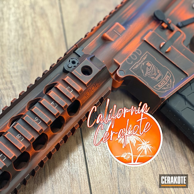 Cerakoted: S.H.O.T,Battleworn,Graphite Black H-146,Call of Duty,Hunter Orange H-128,Christopher Miller,AR-15,california cerakote