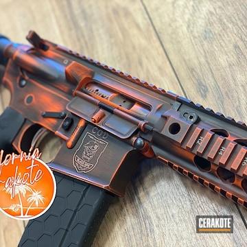 Battleworn Call Of Duty Themed Ar Build Cerakoted Using Hunter Orange And Graphite Black