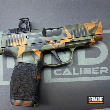 Splinter Camo Sig Sauer P365 Pistol Cerakoted Using Noveske Bazooka Green, Tequila Sunrise And Gen Ii Graphite Black