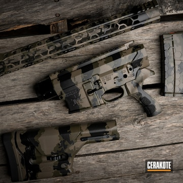 Custom Camo Ar Builders Set, Stock And Magazine Cerakoted Using Armor Black And Titanium