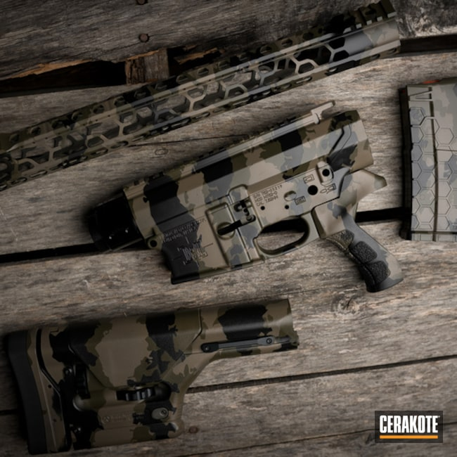 Custom Camo Ar Builders Set, Stock And Magazine Cerakoted Using Armor Black And Titanium