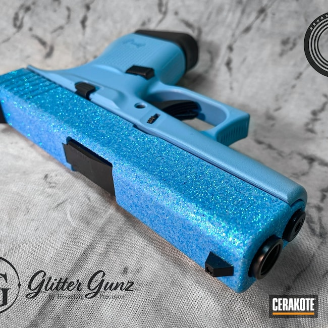 Cerakoted: S.H.O.T,9mm,Glitter Glock,Glock,BLUE RASPBERRY H-329,Glock 43