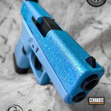 Glittered Glock 43 Cerakoted Using Blue Raspberry