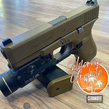 Glock 19 Pistol Cerakoted Using Federal Brown
