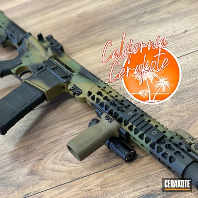 Custom Camo Ar Cerakoted Using Multicam® Dark Brown, Multicam® Light Green And Graphite Black