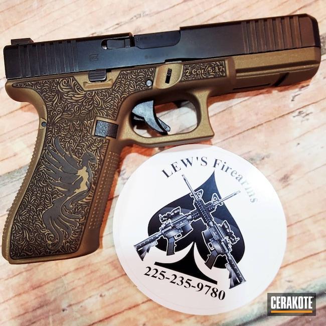 Cerakoted: Laser Stippled,Burnt Bronze H-148,Glock,Laser Engraved,Handguns