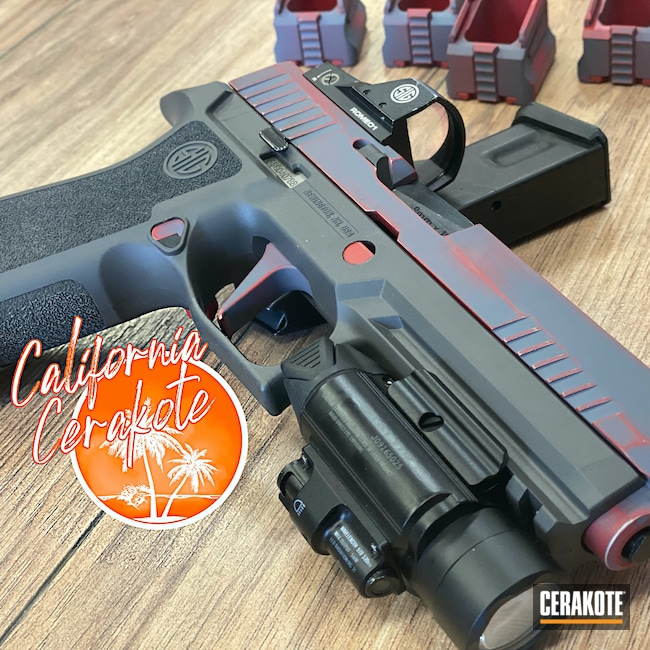 Cerakoted: Sig Sauer P320,Graphite Black H-146,USMC Red H-167,Handguns,Christopher Miller,california cerakote