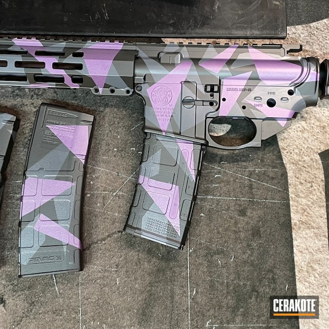 Cerakoted: M&P 15,Fracture Geo Camo,BLACK CHERRY H-319,Smith & Wesson,Camo,Armor Black H-190,CRUSHED ORCHID H-314,SIG™ DARK GREY H-210,AR Rifle