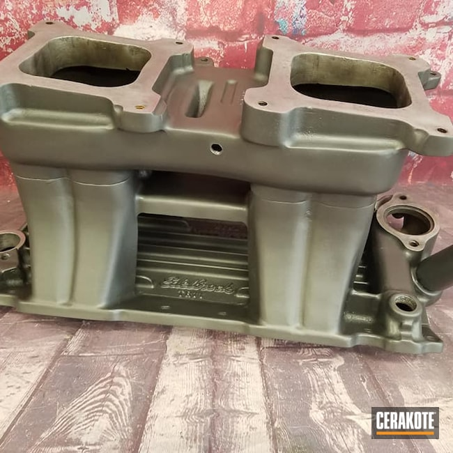 Cerakoted: Glacier Mix,Tunnel Ram Manifold,Automotive Parts,Intake Manifold,Automotive,CERAKOTE GLACIER BLACK C-7600,CERAKOTE GLACIER SILVER C-7700,Edelbrock,High Temperature