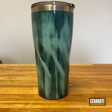 Custom Yeti Tumbler Cerakoted Using Sea Blue And Robin's Egg Blue