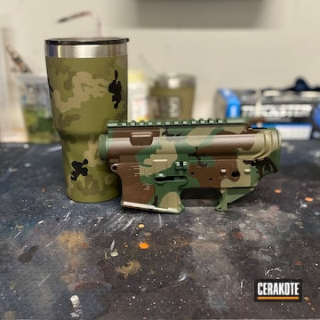 Tumbler, Lower And Lower Cerakoted Using Crimson, Sniper Green And Jesse James Eastern Front Green
